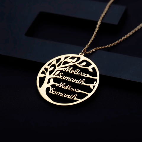 Statement Family Tree Necklace For Women Customized Name Gold Color Stainless Steel Personalized Jewelry Men Christmas Gift