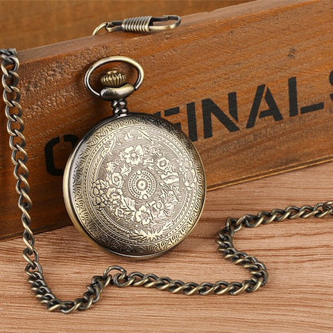 Bronze To My Son Quartz Pocket Watch Vintage Roman Numeral Display Pendant Clock Birthday Gifts for Boys