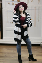 Wanna Frayed Stripe Open Cardigan