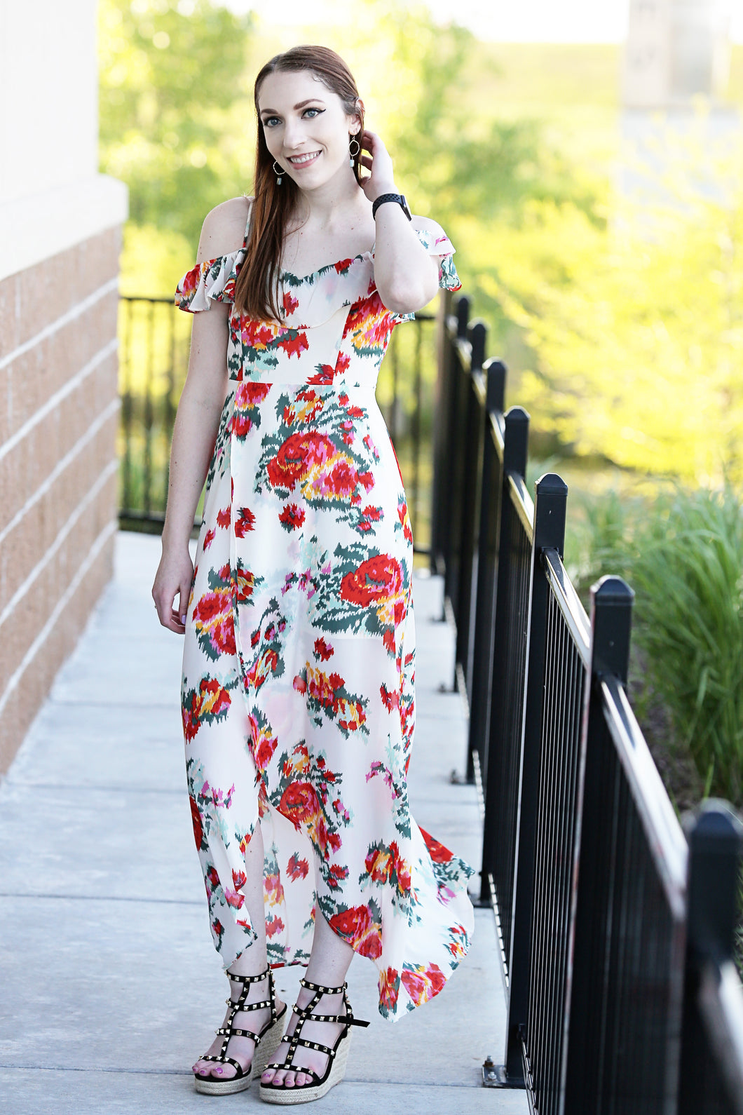 Brea Floral Tulip Neckline Maxi Dress - Moxie a sass + class boutique | Wichita, KS