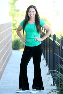 TYRA VELVET FLARE PANTS - Moxie a sass + class boutique | Wichita, KS
