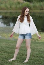 White Cotton Empire Waisted Lace Top - Moxie a sass + class boutique | Wichita, KS