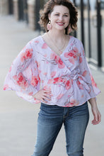 Patrice Accordion Sleeve Surplice Blouse - Moxie a sass + class boutique | Wichita, KS
