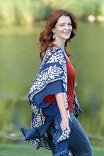 Navy Pom Pom Trim Damask Kimono - Moxie a sass + class boutique | Wichita, KS
