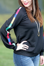 Presley Top with Rainbow Embroidered Sleeves - Moxie a sass + class boutique | Wichita, KS