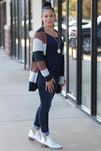 RoseMary Wide Stripe Color Block Popcorn Cardigan