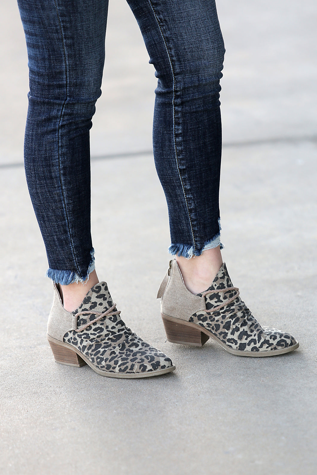 VeryG Animal Print Canvas Bootie