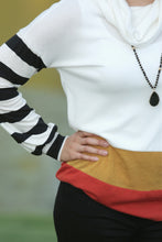 +PSL Color Block Mock Neck Top