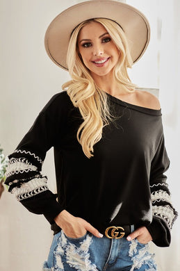 Out the Door Black Top with Accent Sleeve