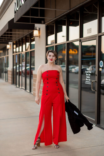 """Stunner"" Red Jumpsuit"