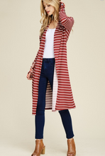 THUMBKIN MIXED PATTERN STRIPED CARDI WITH THUMBHOLES