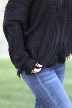 LeClaire Frayed V Neck Sweater