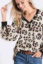 """Frisky"" Leopard Top with Puff Sleeves and Buttons - Moxie a sass + class boutique Wichita Boutique"