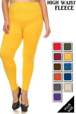 PLUS Size Fleece Lined Leggings with Wide Tummy Band - Moxie a sass + class boutique | Wichita, KS