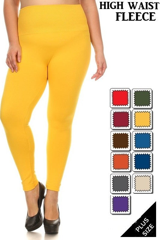 PLUS Size Fleece Lined Leggings with Wide Tummy Band