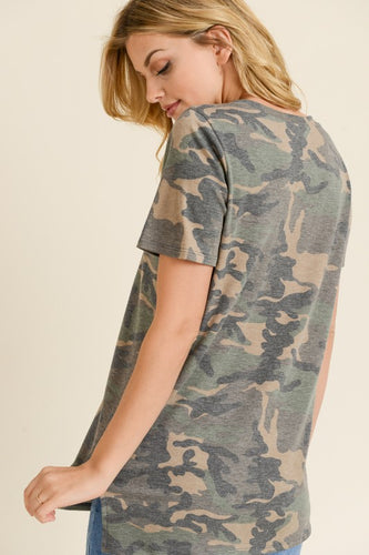 Maris Camo Green Caged Top With Neon Pink