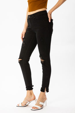 Witches Black Distressed Ankle Skinny Jeans
