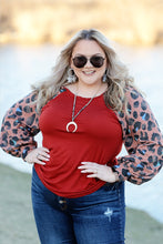 """Marble Falls"" Top with Leopard Accent Sleeves - Moxie a sass + class boutique 