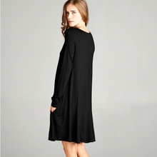 MY ESSENTIAL SHIFT DRESS WITH POCKETS LONG SLEEVE