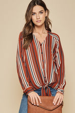 """Vera"" Striped Button Down Top - Moxie a sass + class boutique Wichita Boutique"