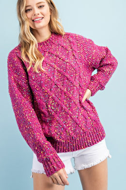 Cable Knit Confetti Sweater
