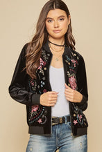 """Hotcha Mama"" Velvet Embroidered Bomber Jacket - Moxie a sass + class boutique Wichita Boutique"