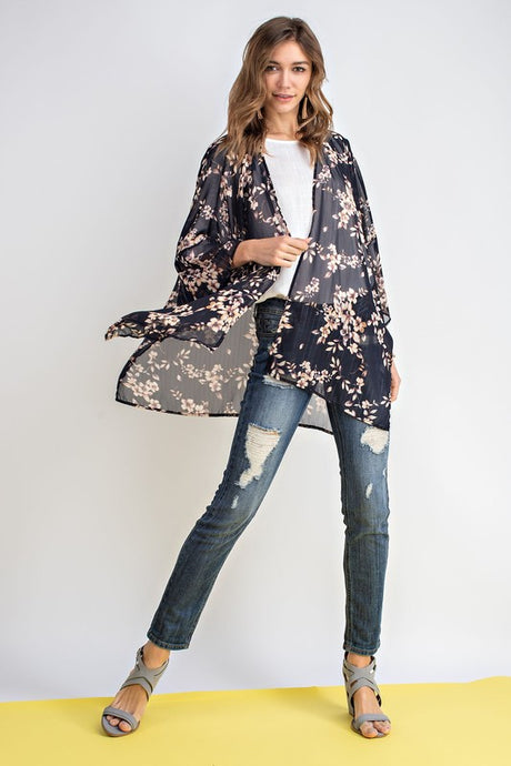 Sherilyn Feminine Floral and Metallic Lurex Print Kimono