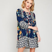 TROPICAL PRINT NAVY BOHO PEASANT DRESS