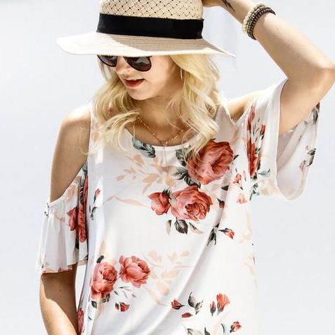 PRETTY  FLORAL SUMMER COLD SHOULDER TOP MADE IN THE USA