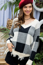 Park Ave Frayed Plaid Sweater
