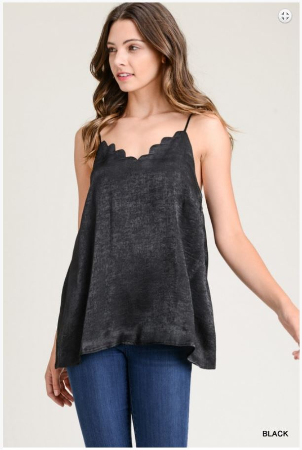 Black Izabelle Scalloped Cami - Moxie a sass + class boutique
