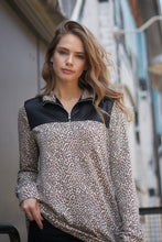 """Lincoln"" Quarter Zip  Leopard Print Top"