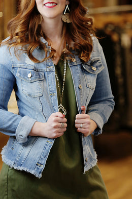 Sagittarius Light Denim Jacket - Moxie a sass + class boutique | Wichita, KS