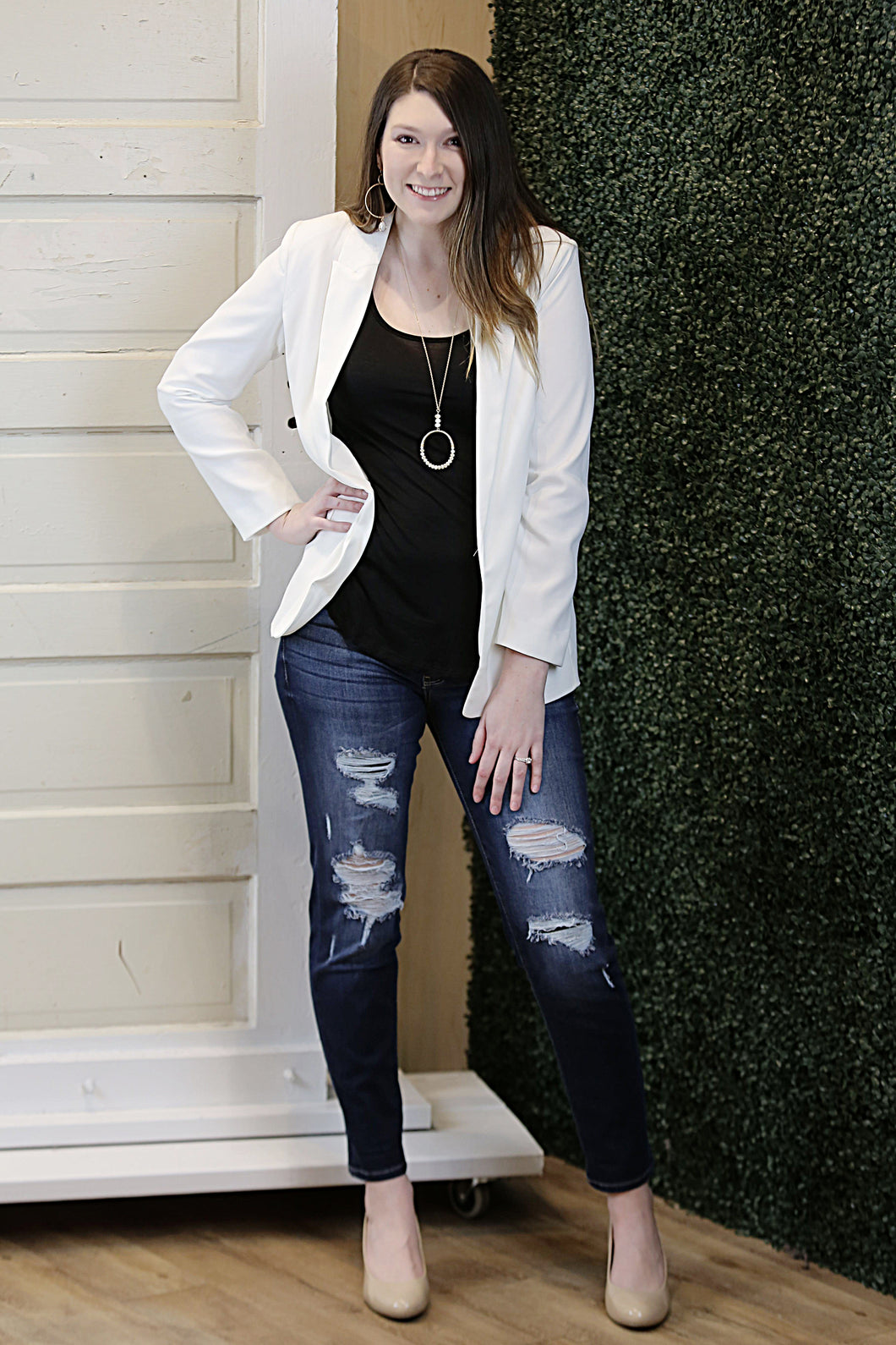 """BFD"" White Boyfriend Blazer - Moxie a sass + class boutique 