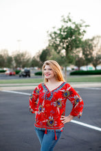 """Deidre"" Red Peasant Blouse - Moxie a sass + class boutique 