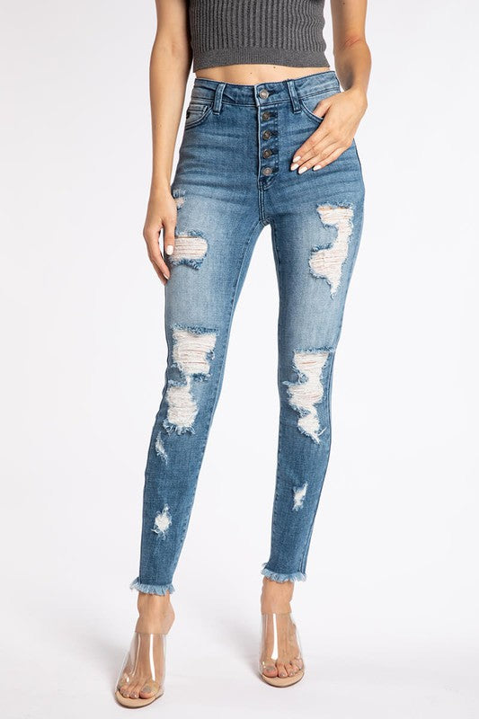 OMG High Rise Ankle Skinny Jeans