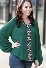 Feisty Bubble Sleeve Top with Leopard Accent