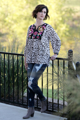 Passport Embroidered Leopard Print Top