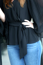 Winner Accordion Sleeve Wrap Blouse