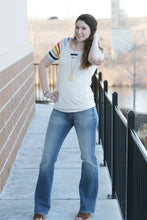 """Breakfast"" Stripe Sleeve Raglan Top - Moxie a sass + class boutique 