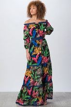 Tiered Floral Off the Shoulder Maxi Dress
