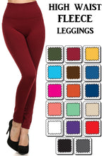 One Size Fleece Lined Leggings with Wide Tummy Band