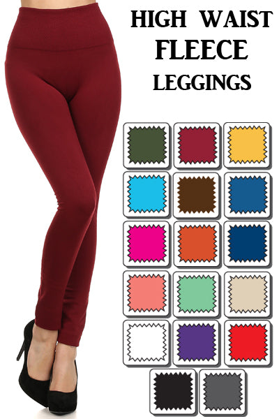One Size Fleece Lined Leggings with Wide Tummy Band - Moxie a sass + class boutique | Wichita, KS