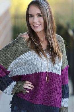 Blaire Frayed Colorblock Sweater
