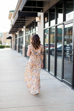 """Thea"" Floral Taupe Dress with Ruffle and Lace up Detail - Moxie a sass + class boutique 