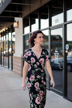"""Aurora"" Black Floral Faux Wrap Dress - Moxie a sass + class boutique Wichita Boutique"