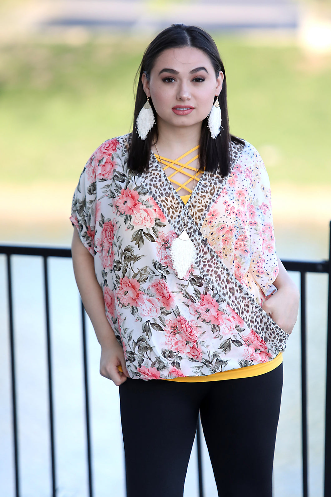 Fauna Mix Print Top