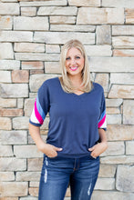 """Nicole"" Navy Top with Retro Sleeve Detail - Moxie a sass + class boutique Wichita Boutique"