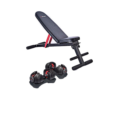 Adjustable Dumbbells and Foldable Bench Combo