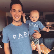 PAPA & DUDE/MINI Matchy Tee | Blue